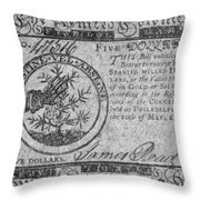 Continental Currency, 1775 Throw Pillow