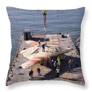 Contractors Hoist The X-47b Unmanned Throw Pillow