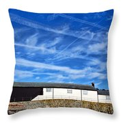 Contrails Over The Cobb Throw Pillow