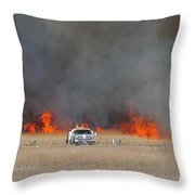 Controlled Burn And Brush Truck Throw Pillow