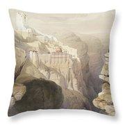 Convent Of St. Saba, April 4th 1839 Throw Pillow