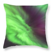 Converging Curtains Of Aurora Throw Pillow
