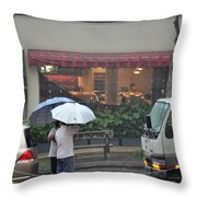 Conversation In The Rain Throw Pillow