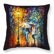 Conversation - Palette Knife Oil Painting On Canvas By Leonid Afremov Throw Pillow