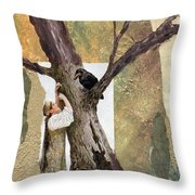 Conversation With The Crow Throw Pillow