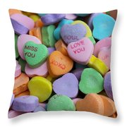 Conversational Hearts Throw Pillow