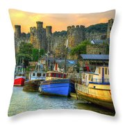 Conwy Castle And Harbour Throw Pillow
