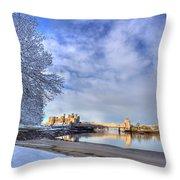 Conwy Castle Snow Throw Pillow