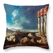 Cook: Easter Island, 1774 Throw Pillow