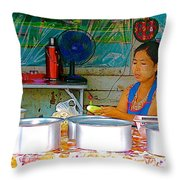 Cooking In The Marketplace In Tachilek-burma Throw Pillow