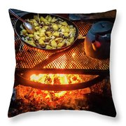 Cooking Meat And Potatoes Throw Pillow