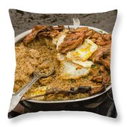 Cooking On A Boat In Shanty Town Throw Pillow