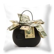 cooking Pot full of Money White Background Throw Pillow