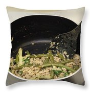Cooking Salmon With Green Beans Throw Pillow