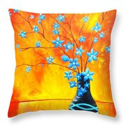 Cool Blue On Fire Throw Pillow
