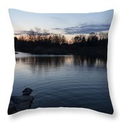 Cool Blue Ripples - Lake Shore Eventide Throw Pillow