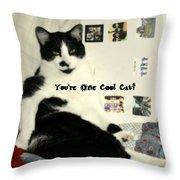 Cool Cat Greeting Card Throw Pillow
