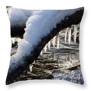 Cool Icicles Reflecting In The Waves  Throw Pillow