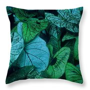 Cool Leafy Green Throw Pillow