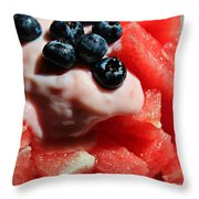 Cool Snack - Watermelon And Blueberries Throw Pillow