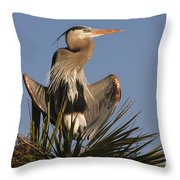 Great Blue Heron Air Conditioning Throw Pillow