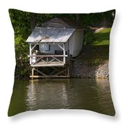 Coosa River Fishing Hut   #9548 Throw Pillow