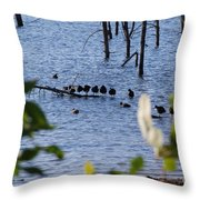 Coots On A Tree Throw Pillow