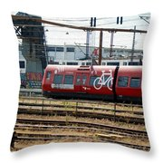 Copenhagen Commuter Train Throw Pillow