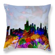 Copenhagen Watercolor Skyline Throw Pillow