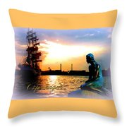 Copenhagen With Little Mermaid Throw Pillow