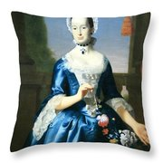 Copley's Anne Fairchild Bowler -- Mrs. Metcalf Bowler Throw Pillow