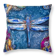 Copper Dragonfly Throw Pillow