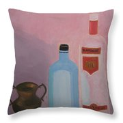 Copper Jug With Glass Bottles Throw Pillow