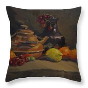 Copper Tea Pot And Fruit Throw Pillow
