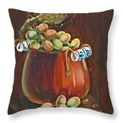 Copper Kettle Of Grapes Throw Pillow
