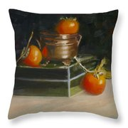 Copper Pot And Persimmons Throw Pillow