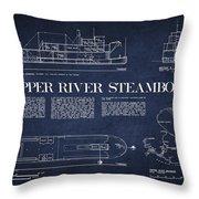 Copper River Steamboats Blueprint Throw Pillow