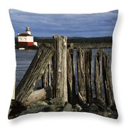 Coquille Lighthouse Oregon 3 Throw Pillow