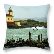 Coquille River Lighthouse And Birds Throw Pillow
