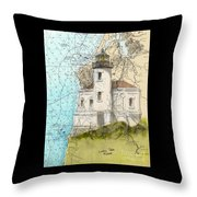 Coquille River Lighthouse Or Nautical Chart Map Art Cathy Peek Throw Pillow