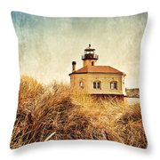 Coquille River Lighthouse - Texture Throw Pillow