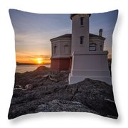 Coquille River Lighthouse Sunset Throw Pillow