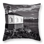 Coquille River Lighthouse Upriver Bw Throw Pillow
