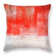 Tinted - Beige And Coral Abstract Art Painting Throw Pillow