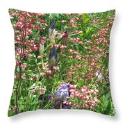 Coral Bells And Irises Throw Pillow
