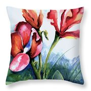 Coral Flower Study Throw Pillow