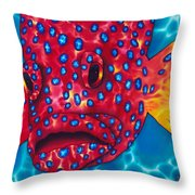 Coral Grouper Throw Pillow by Daniel Jean-Baptiste