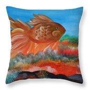 Coral Land Goldfish Throw Pillow
