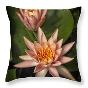 Coral Pink Water Lilies Throw Pillow
