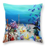Coral Reef Blues  Throw Pillow